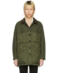Burberry - Green Quilted Jacket - Lyst