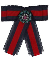 Gucci - Navy And Red Striped Ribbon Brooch - Lyst