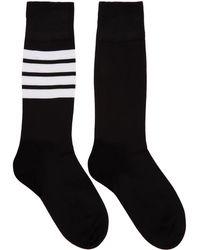 Thom Browne - Black Lightweight Cotton Mid-calf Socks - Lyst