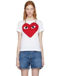 Play Comme des Garçons - White Large Double Heart T-shirt - Lyst