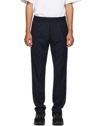 Acne Studios - Navy And Green Striped Ryder Trousers - Lyst