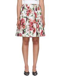 Dolce & Gabbana - Multicolor Floral Peonies Miniskirt - Lyst