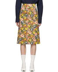 17310f0bfc Marni - Multicolour Denim Flowers Pencil Skirt - Lyst