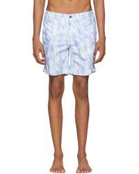 Onia - White And Blue Diamond Chevron Calder Swim Shorts - Lyst