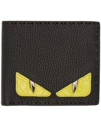 Fendi - Black Croc Bag Bugs Bifold Wallet - Lyst