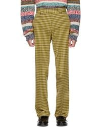 Burberry - Yellow Turnpike Check Trousers - Lyst