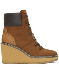 See By Chloé - Brown Nubuck Eileen Wedge Boots - Lyst