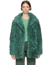 Sies Marjan - Green Shearling Pipa Peacoat - Lyst
