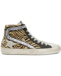 Golden Goose Deluxe Brand - Beige And Black Calf-hair Zebra Sneakers - Lyst