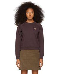 Maison Kitsuné - Purple Fox Head Patch Sweatshirt - Lyst