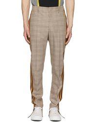 Stella McCartney - Brown Checked Side Stripe Trousers - Lyst