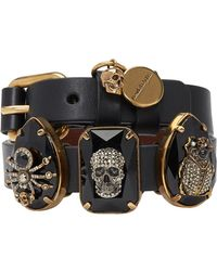 Alexander McQueen - Black Three Stones Double Wrap Bracelet - Lyst