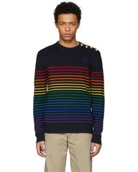 J.W. Anderson | Navy And Multicolor Merino Marinière Sweater | Lyst