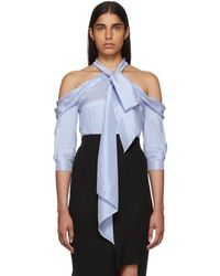 Erdem - Blue And White Silk Striped Blouse - Lyst