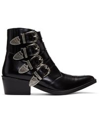 Toga Pulla - Black Four Buckle Western Boots - Lyst