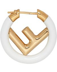 Fendi - Gold And White F Is Earring - Lyst
