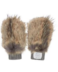 Stella McCartney - Brown And Grey Faux-fur Mittens - Lyst