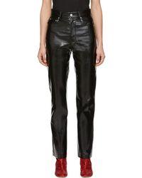 MSGM - Pantalon en vinyle noir - Lyst