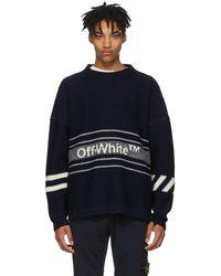 Off-White c/o Virgil Abloh - Navy Intarsia Logo Sweater - Lyst