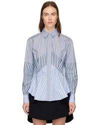 Carven - Blue Stripe Mix Shirt - Lyst