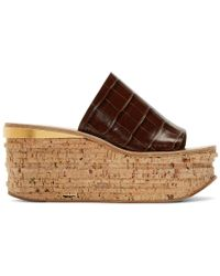 Chloé - Brown Croc Camille Wedge Mule Sandals - Lyst