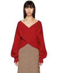 Rosetta Getty - Red Ribbed Cocoon Jumper - Lyst