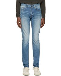 Saint Laurent - Blue Low Waisted Skinny Jeans - Lyst