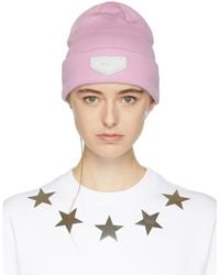 Givenchy | Pink Leather Logo Patch Beanie | Lyst