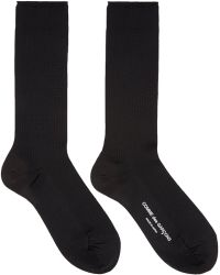 Comme des Garçons - Black Ribbed Logo Socks - Lyst