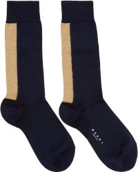 Marni - Navy Metallic Stripe Socks - Lyst
