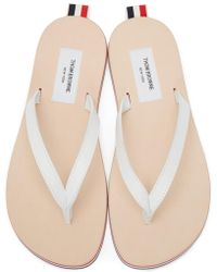 Thom Browne - White & Tricolor Leather Sandals - Lyst