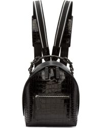 MSGM - Black Croc-embossed Small Backpack - Lyst
