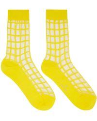 Y's Yohji Yamamoto - Yellow Sheer Check Socks - Lyst