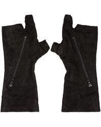 Julius - Black Goatskin Fingerless Gloves - Lyst