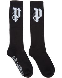 Palm Angels - Ssense Exclusive Black Logo Socks - Lyst