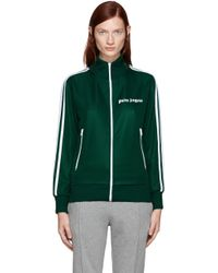 Palm Angels - Green Track Zip-up Sweater - Lyst