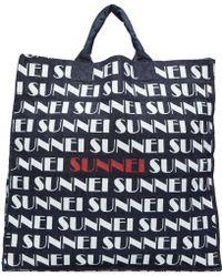Sunnei - Navy Denim Logo Shopping Tote - Lyst