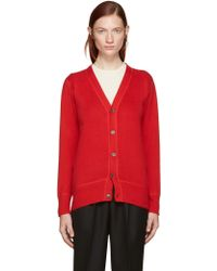 Hyke - Red Cotton & Cashmere Cardigan - Lyst