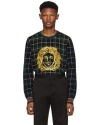 Versace - Green Plaid Medusa Sweater - Lyst