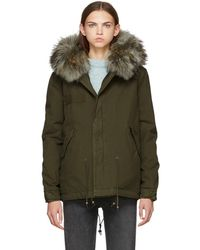 Mr & Mrs Italy - Ssense Exclusive Green And Grey Canvas Mini Length Fur-lined Parka - Lyst