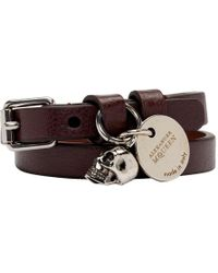 Alexander McQueen - Burgundy And Silver Double Wrap Bracelet - Lyst