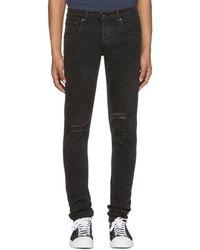 Rag & Bone - Black Standard Issue Fit 1 Holes Jeans - Lyst