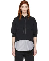 3.1 Phillip Lim - Black Combo Embroidered Hoodie - Lyst