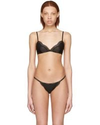 a56db25410dcf Calvin Klein - Black Mesh Lace Triangle Bra - Lyst