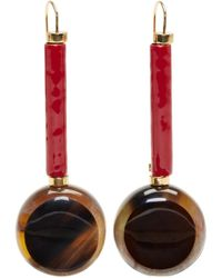 Marni - Tortoiseshell Round Drop Earrings - Lyst