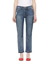 FRAME - Indigo Le High Straight Release Hem Jeans - Lyst