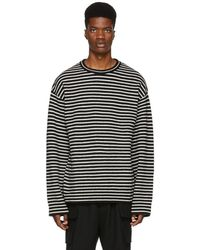 Juun.J - Black And White Striped Crewneck Sweater - Lyst