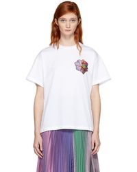 Christopher Kane - White Sequin Flower Boyfriend Shirt - Lyst
