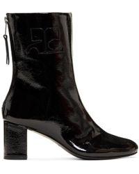 Courreges - Black Vinyl Leather Logo Boots - Lyst