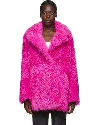 Off-White c/o Virgil Abloh Pink Fur Kalgan Coat